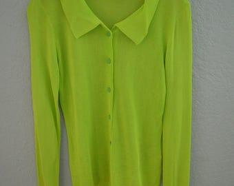 VERSACE VERSUS 90's Neon Green Button Down Slinky Blouse // Sweater // Top // Shirt
