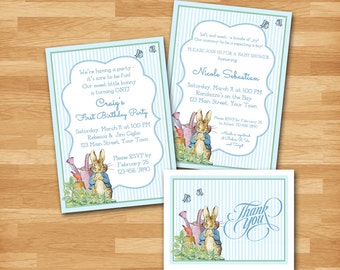 "Peter Rabbit Invitation / Baby Shower, Sip & See, Birthday / 5""x7"", Blue Stripes, Bunny, Boy, DIY, Thank You Card, Diaper Raffle, Book Card"