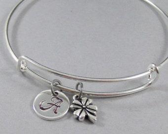 Pretty Clover,Four Leaf Clover,Clover Bracelet,Bangle,Clover Bangle,Irish Bracelet,Irish Bangle Bracelet.Silver Bracelet,Irish Jewlery,