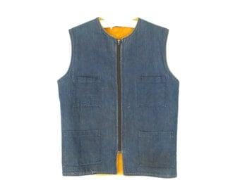 Denim Vest * Vintage 70s Fleece Waistcoat * Men's Jean Vest * Medium