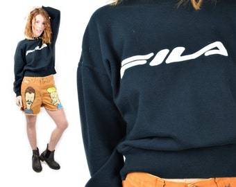 vtg 90s FILA Novelty Sports Gear Batwing Oversized Cropped Long Sleeve Sweater Boyfriend Pullover Black Vintage 80s 90s Thuglife Urban o/s