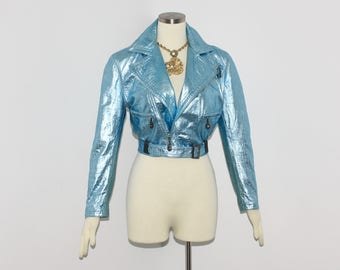 GIANNI VERSACE Vintage Leather Jacket Blue Metallic Croc Embossed Motorcycle Coat - AUTHENTIC -