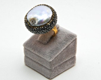 Druzy Chrysoprase  Pearl Gemstone Swarovski Crystal  Rings, Pearl and Sterling Silver Gold Plated , Adjustable Sparkly Drusy