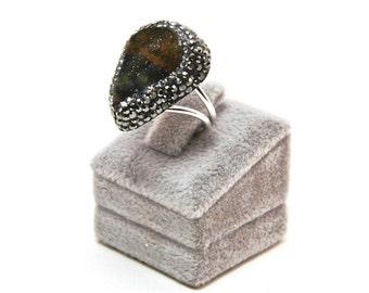 Druzy Chrysoprase  Gemstone Swarovski Crystal  Rings Sterling Silver  Adjustable Sparkly Drusy , FedEx Shipping