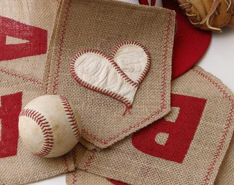 Burlap Baseball Banner, I Heart Baseball, Red, Real Baseball, Sports, Baseball Theme, Gift for Guy, Coaches Gift, MLB, Baseball Decoration.