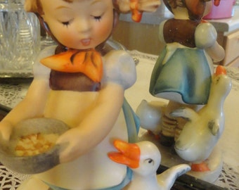 "Vintage HUMMEL Be Patient Girl feeding Ducks Geese 6"" tall"