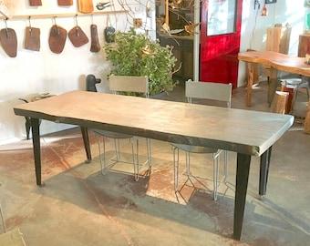 Live Edge Industrial Harvest Table