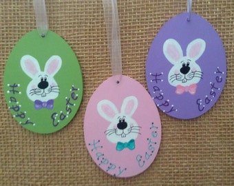 Personalized easter ornament, hand painted wood easter egg, easter bunny ornament, easter decoration, easter gift.  Price is for one egg.