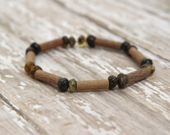 Baltic Amber & Hazelwood Bracelet, amber pain relief, hazelwood reflux eczema heartburn relief, beaded bracelet, gemstone jewelry