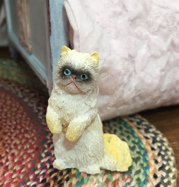 Miniature Cat Figurine, Gold & White, Blue Eyes, Standing Cat, Style 11, Dollhouse Miniature, 1:12 Scale, Dollhouse Size Figurine