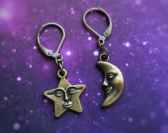 Bronze Moon Star face mismatched earrings