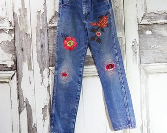 Girl's Hippy Patched Jeans, Upcycled Clothing, Girls Jeans, Upcycled Jeans, Children's Clothing