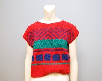 Vintage 1980's or 1990's Cropped Boxy Cap Sleeved Sweater Chevron Geometric Pattern Knit Top Shirt Pullover Bohemian Pink Turquoise Purple