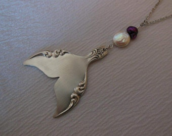 Mermaid Tail   Antique Fork Necklace