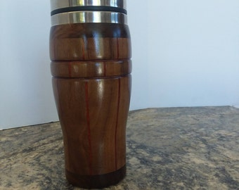 Black walnut and padauk travel mug with stainless steel liner  #52