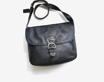 Vintage Coach Bag / Coach Messenger Bag / Black Leather Coach Purse