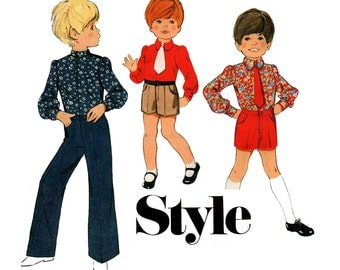 Style 2926 Boys Shirt Shorts & Pants Vintage Sewing Pattern Size 6 chest 25 inches