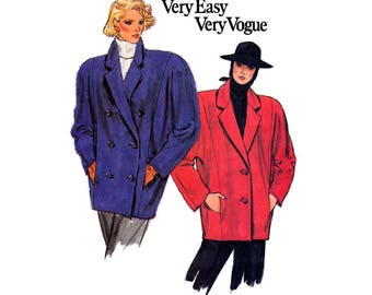 HALF PRICE Clearance 80s Oversized Coat Blazer Pattern Vogue 9381 Vintage Sewing pattern Size 14 Bust 36 inches