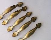 Vintage Brass Drawer Handles. Keeler Brass Cabinet Handles. Salvaged Hardware. Renovation Hardware. set of 5