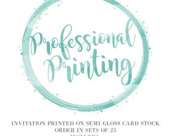 5x7 Professional Printing Services - Semi-Gloss - Double Sided - Add on with Vibrant Imagery Invitations