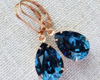 Navy Blue Rose Gold Earrings, Swarovski Dark Blue 14K Rose Gold Filled Leverbacks, Leverback Earrings, Rhinestone Crystals, Bridesmaid Gifts
