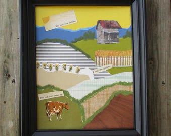 Recycled Art, Farm Fields Hand Torn Paper Collage, Framed Abstract Landscape Wall Art, Farm Haiku, Farmhouse Decor