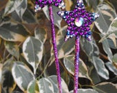 2 purple, blue star hair sticks, ornament, gift, style, beauty, festival, concert, witch, faerie, jewelry, bouquet, bohemian, plant stake