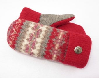 Felted Wool Mittens from Recycled Sweaters Fleece Lined Red, Gray and Tan Fair Isle with Hearts - Valentine's Day