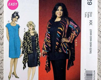 McCall's 7029, Women's Shirt, Top, Skirt and Pants Sewing Pattern, Easy Sewing Pattern, Plus Size Patterns, Women's Size 26W - 32W, Uncut