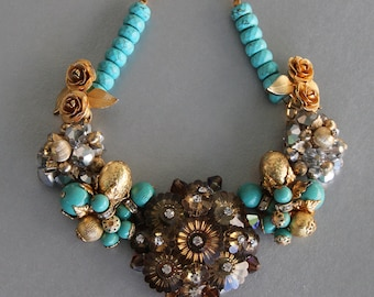 Turquoise, Bronze and Gold Statement Necklace from Vintage Rhinestone Jewelry
