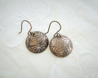 Copper Disc Earrings, Textured Copper, Oxidized Copper, Domed Disc, Disk Earrings, Tribal, Organic, Artisan, Metalsmith, one of a kind, 1008