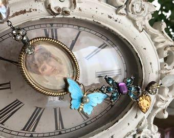 chasing butterflies - necklace victorian portrait vintage blue enamel gemstone pearl asymmetrical rhinestone citrine moonstone assemblage