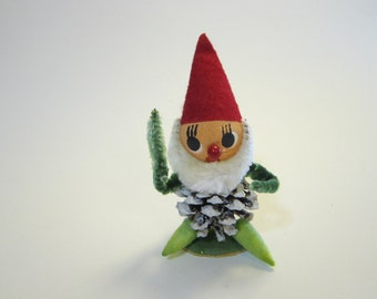vintage pinecone elf - spun cottn, bump chenille - holiday decoration, 4.25 inches