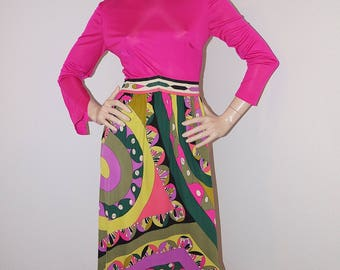 Vintage 1960s Emilio Pucci Dress / 60s Designer Vintage Pucci Psychedelic Print Silk Jersey Dress