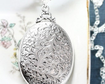 Vintage Sterling Silver Locket Necklace, Floral Engraved Oval Photo Pendant - Wrapped with a Bow