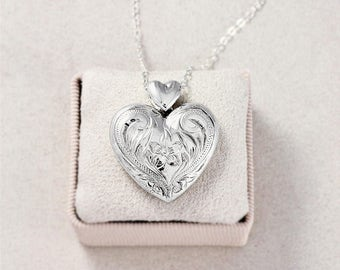 Sterling Silver Heart Locket Necklace, Vintage Flower Engraved Pendant with Rare Heart Bail - Love to Thee