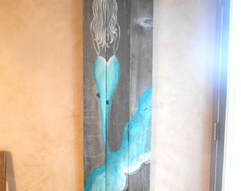 Mermaid Sign, 56 inches tall, Hand Painted Original, Glittered, Beach Painting