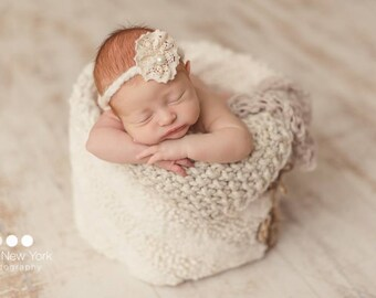 Newborn headband with lace flower, Newborn photo prop, newborn girl, newborn headband, newborn props, newborn tieback,  newborn girl prop