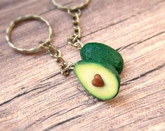 Avocado Keychains - Best Friend Keychain - Heart Keyring - BFF Keychain - Food Jewellery - Handmade in UK with Polymer Clay
