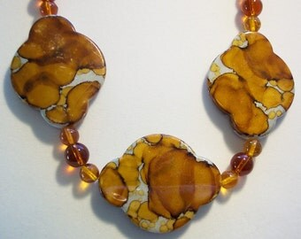 Brown Necklace, Statement Necklace, Large Acrylic Bead Necklace, Natures Patterns, Resemble Natural Gemstones, Lightweight Acrylic Neclace
