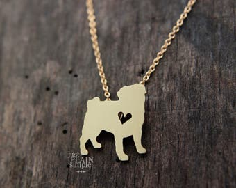 Pug necklace, tiny BRASS hand cut pendant with heart, tiny dog breed jewelry, with 14K gold filled chian