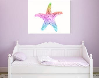 starfish art, mermaid decor, starfish canvas print, canvas art, mermaid nursery art, little girl room art, pastel rainbow art, baby girl art