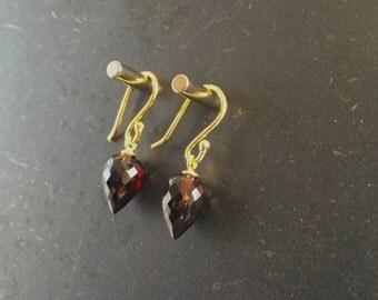 Garnet Earrings Red Garnet Earrings Faceted Earrings Gemstone Earrings Gift For Her Jewelry January Birthstone Birthday Present Fine Jewelry