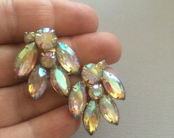 Rhinestone Earrings Clip On Clear AB Stones