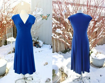 1990's Lapis/Cobolt Royal Blue Jones Dress Size 10 Vintage Retro 90's Sexy Stretchy Cap Sleeves Low neckline Fitted Bridal Wedding