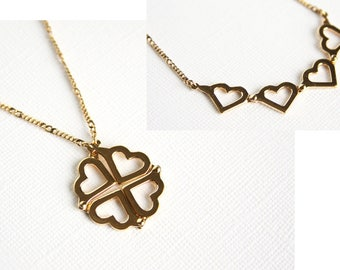 Vintage Avon Necklace Heart Clover Convertible Pendant on Chain Gold Tone Metal With Box 1980s Four Leaf Clover Four Hearts