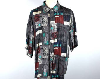 Men's Silk Button Up Shirt by IMPACT, Size Extra Large