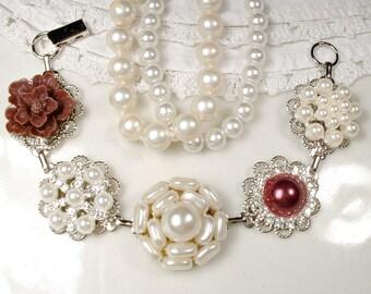 OOAK Burgundy & Ivory Bridal Bracelet, Vintage Wedding Pearl Rhinestone Silver Cluster Earring Bracelet, Bridesmaid Jewelry, Red Wine Flower