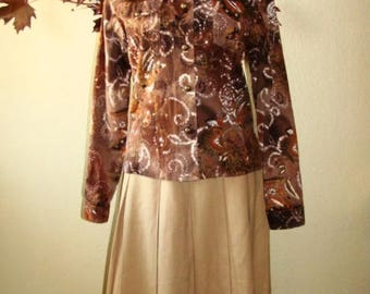70's floral vintage inspired Western Jacket Top Brown Copper Sequins Button Front Long Sleeve Breast Pockets M