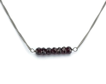 Garnet Titanium Necklace, Hypoallergenic Titanium Chain Necklace for Super Sensitive Skin, Wire Wrapped Wine Red Faceted Gemstone Necklace